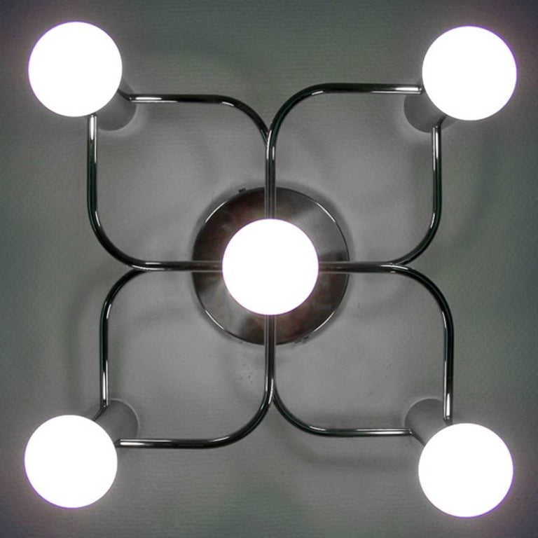 Minimalist Sculptural Ceiling or Wall Light Flush Mount Chandelier by Leola, 1960s For Sale