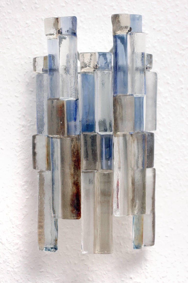 Sculptural organic multi-color blown glass sconce by J.T. Kalmar for Franken KG.