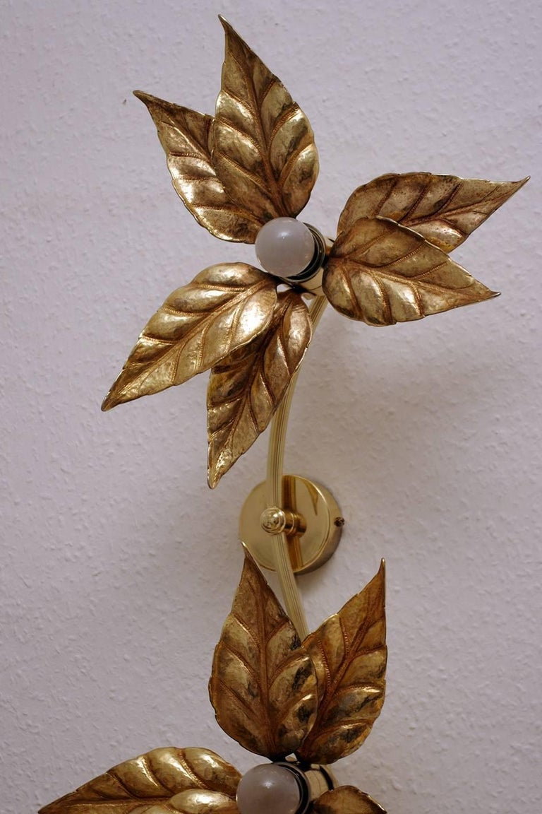 Beautiful gold plated metal wall ceiling light in the style of Tommaso Barbi. Belgium, 1960s. Lamp sockets: 2 x E27 (US E26)