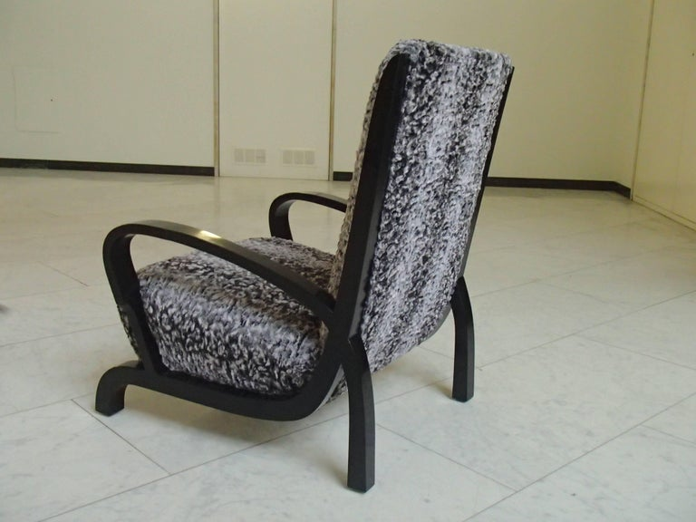 Early 20th Century Bauhaus Pair of Armchairs Black Wood and Faux Fur Astrakhan New Recovered Seat For Sale
