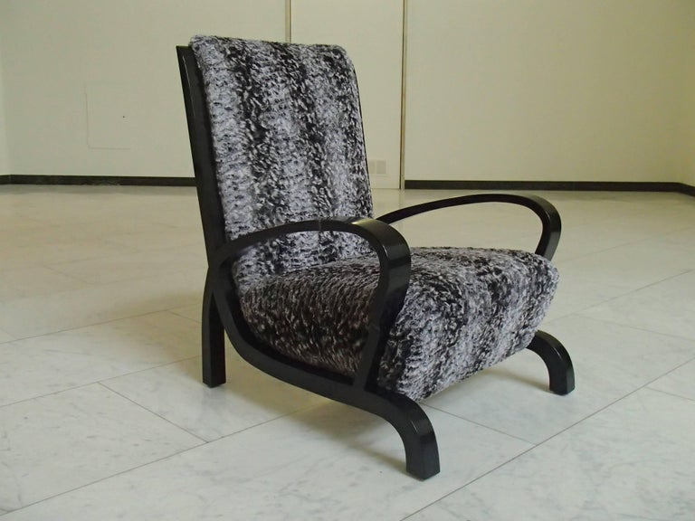 Ebonized Bauhaus Pair of Armchairs Black Wood and Faux Fur Astrakhan New Recovered Seat For Sale