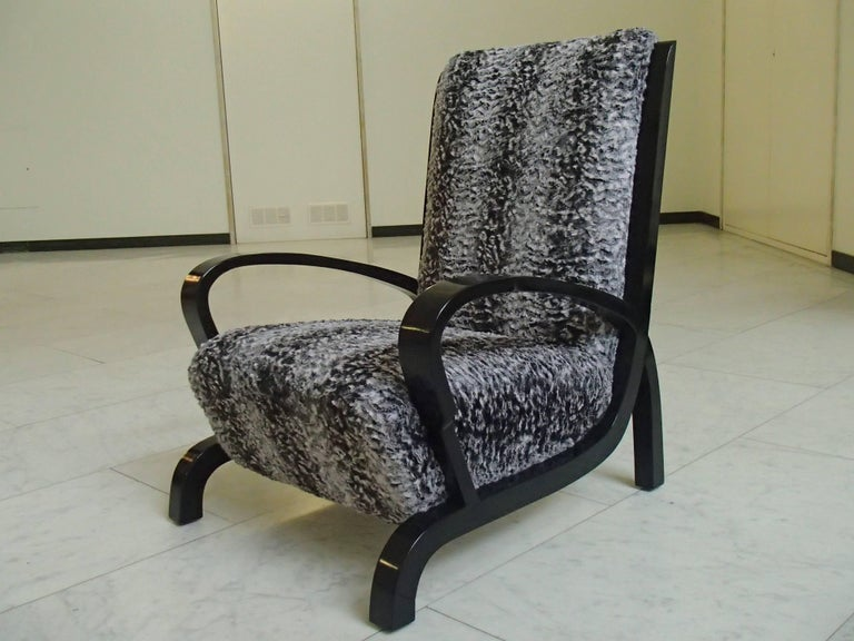 German Bauhaus Pair of Armchairs Black Wood and Faux Fur Astrakhan New Recovered Seat For Sale