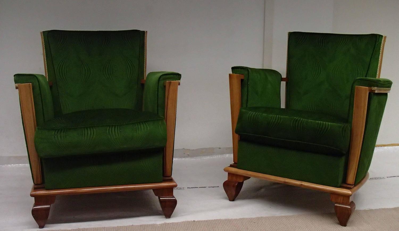 art deco green velours three seat sofa with two armchairs merkt f