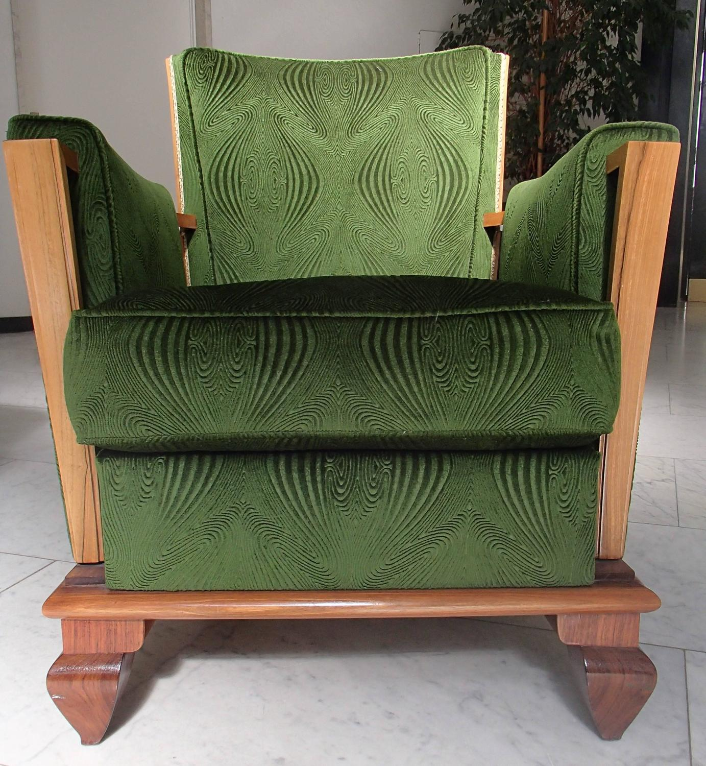 art deco green velours three seat sofa with two armchairs