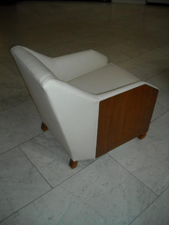French 1930 Pair of Armchairs Off-White Leather and Rosewood For Sale