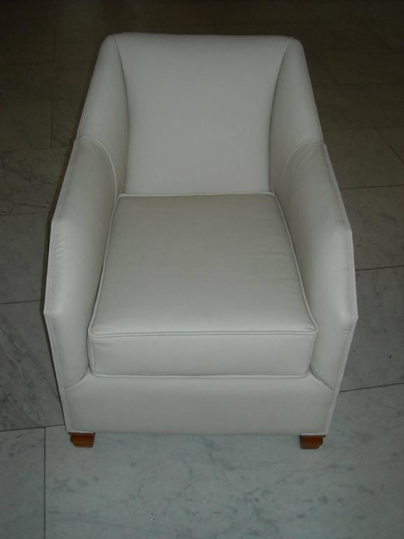Veneer 1930 Pair of Armchairs Off-White Leather and Rosewood For Sale