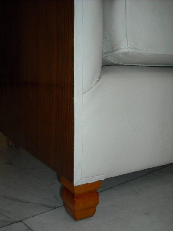 1930 Pair of Armchairs Off-White Leather and Rosewood In Excellent Condition For Sale In Zurich, CH