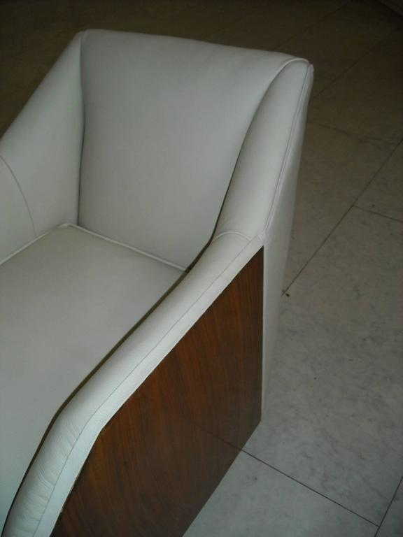 Mid-20th Century 1930 Pair of Armchairs Off-White Leather and Rosewood For Sale
