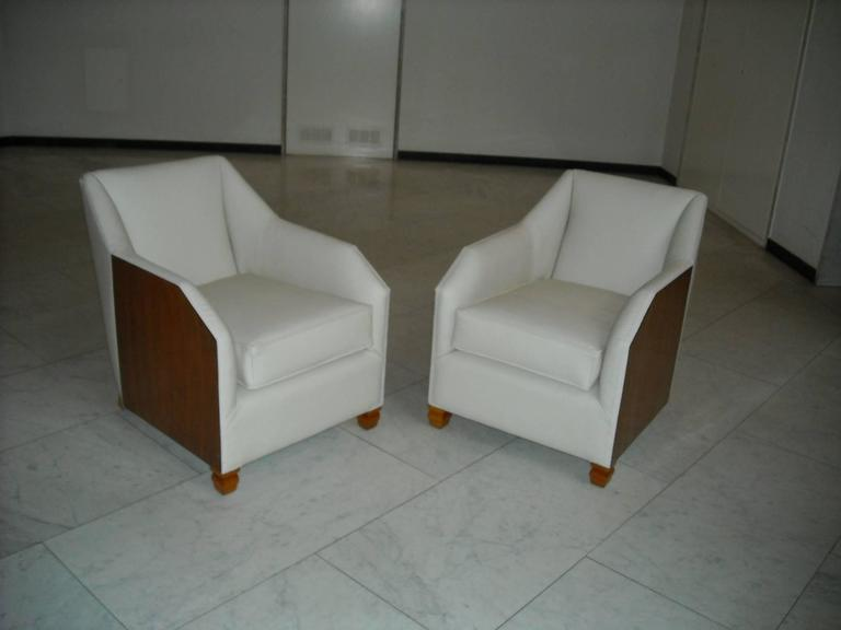 Art Deco 1930 Pair of Armchairs Off-White Leather and Rosewood For Sale