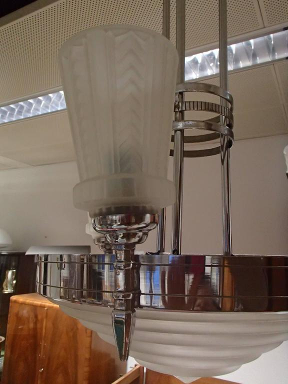 Art Deco 1930 Chandelier by G. Leleu Chromed Brass Stained Glass For Sale