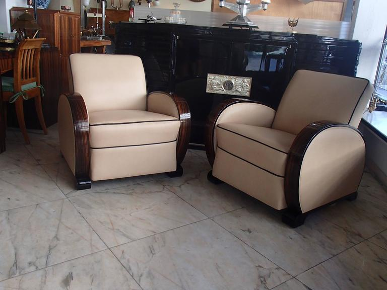 Pair of art deco leather streamline club chairs with ebene de macassar arms at 1stdibs - Club deco ...