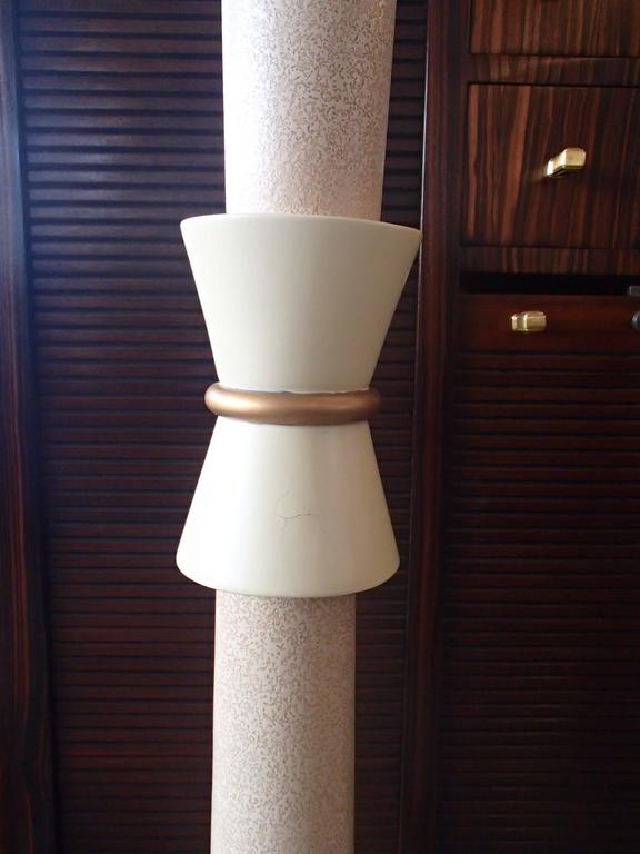 1940 Floor Lamp Ivory Lacquered Sable Glass Shade For Sale