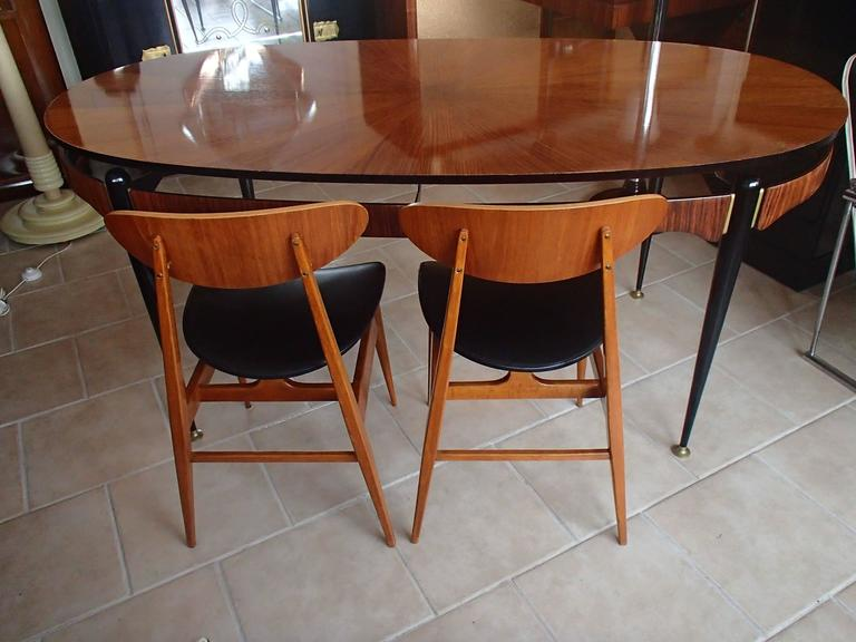 Mid Century Modern Italian Mid Century Dining Table Rosewood Brass Black  Legs For Sale