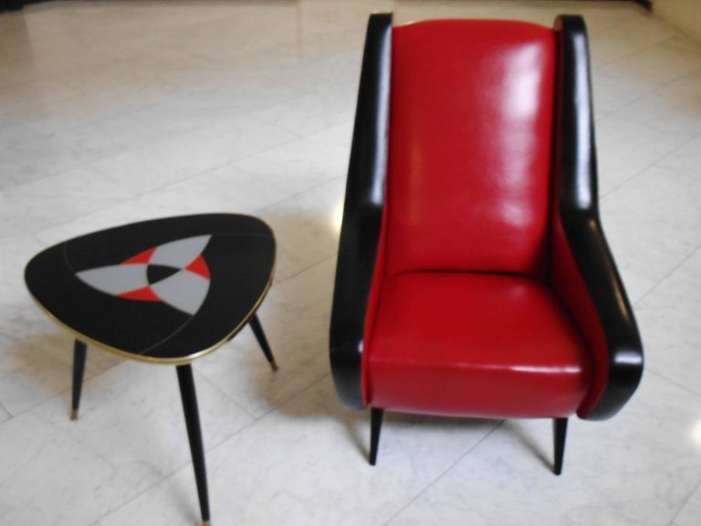 Mid Century Red And Black Origin Leatherette Lounge Chair