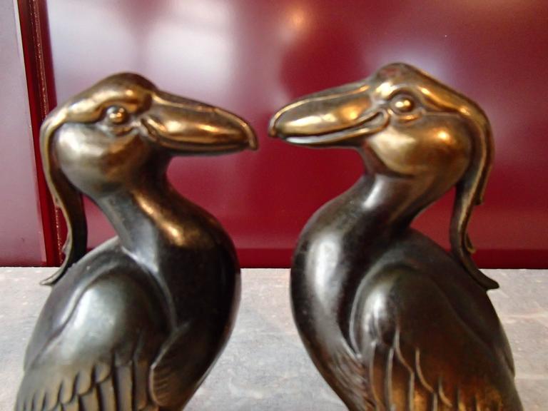 Pair of Art Deco Bronze Bird Bookend by Jamar 5