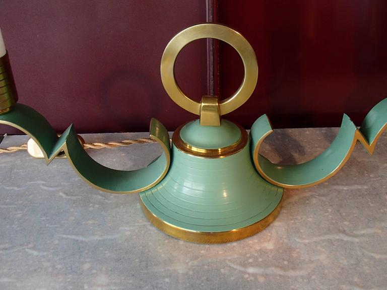 Molded Pair of 1940 Sideboard, Table Bedside Lamps Green Brass Opal Tubes For Sale