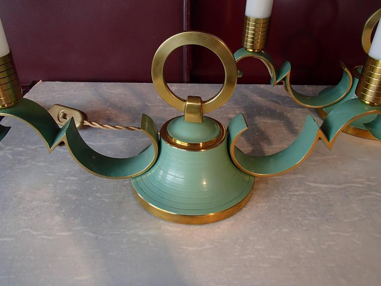 Enamel Pair of 1940 Sideboard, Table Bedside Lamps Green Brass Opal Tubes For Sale