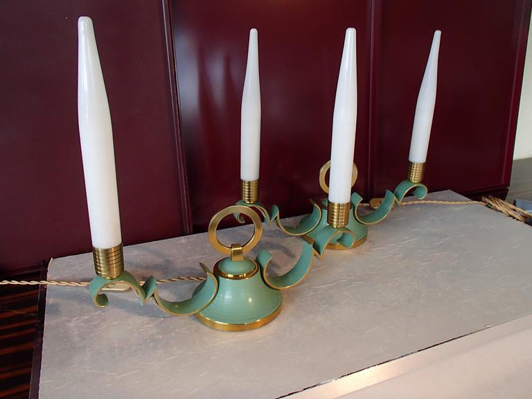 Pair of 1940 Sideboard, Table Bedside Lamps Green Brass Opal Tubes For Sale 2