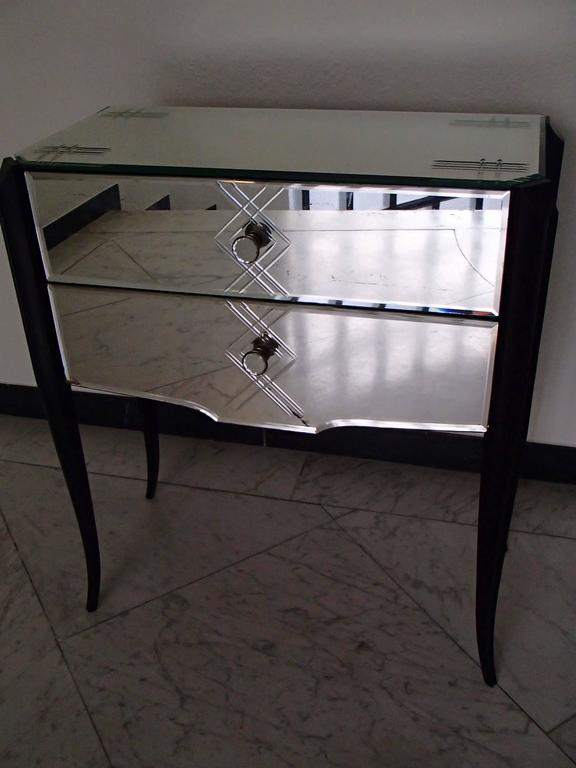 Art Deco Small Console Two Drawer Cabinet Engraved Mirror And Mirrored  Buttons Black Curved Legs