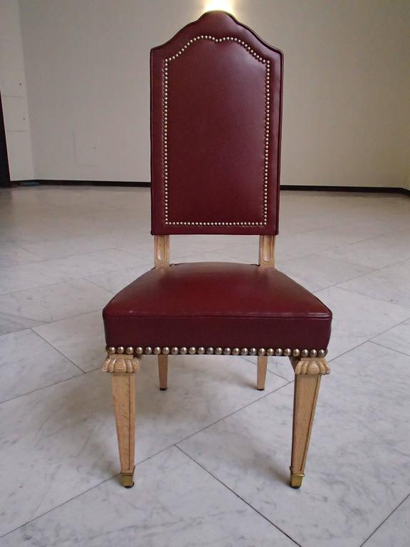Six Dining Room Chairs Dark Red Leather Cerused Oak For Sale At 1stdibs