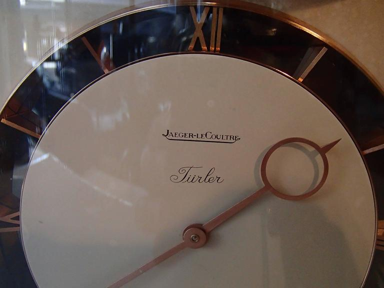 Mid-Century Jaeger-LeCoultre table clock full working order eight days mouvement.