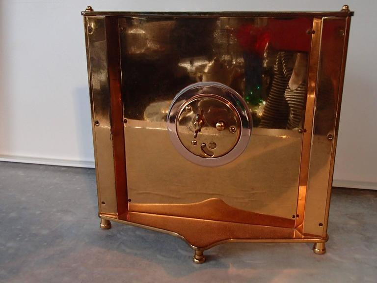 Plated Mid-Century Jaeger-LeCoultre Table Clock For Sale