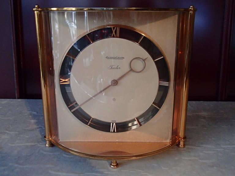 Gold Plate Mid-Century Jaeger-LeCoultre Table Clock For Sale