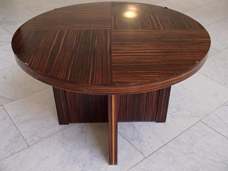 huge round art deco ebene de macassar coffee side table. Black Bedroom Furniture Sets. Home Design Ideas