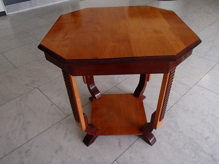19th Century Octagon Side Table Two Tone Birch For Sale 1