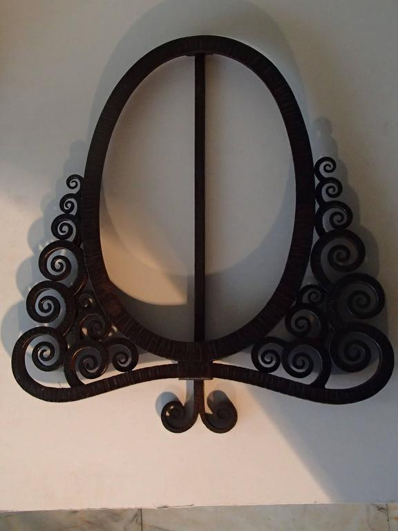 Art Deco Wrought Iron Picture Frame Or Table Mirror By