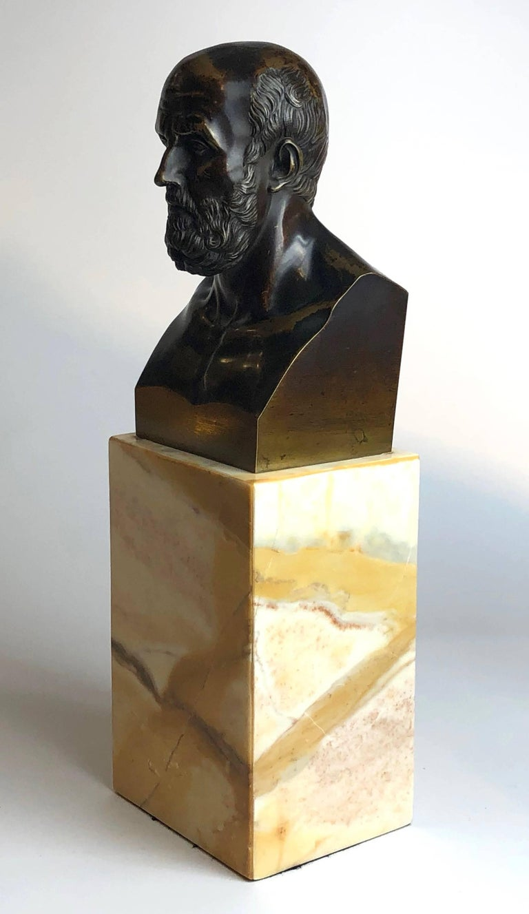 Superb quality bronze bust of Hippocrates, on a Sienna marble base.