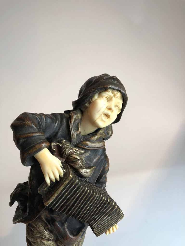 "Demetre Chiparus ""Lazzarone"": Gilt Bronze and Ivory of Boy Playing Accordian 2"