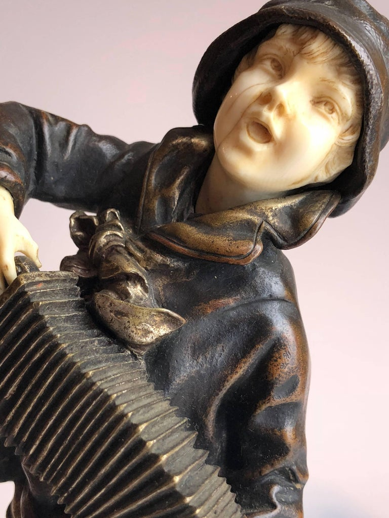 "Demetre Chiparus ""Lazzarone"": Gilt Bronze and Ivory of Boy Playing Accordian 9"