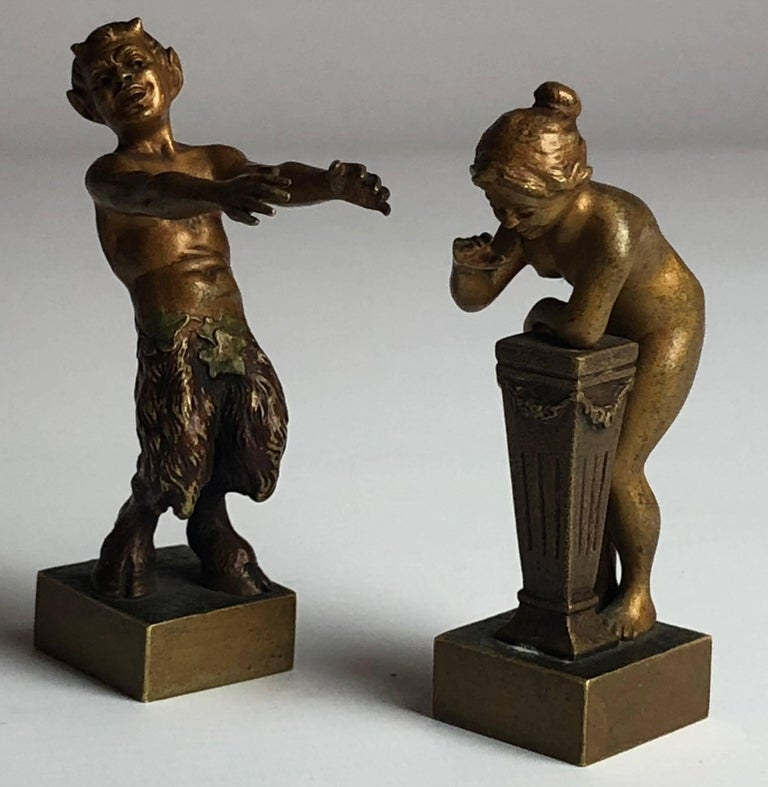 Art Nouveau Erotic Vienna Bronzes Nude and Satyr by Bergman, circa 1900 For Sale