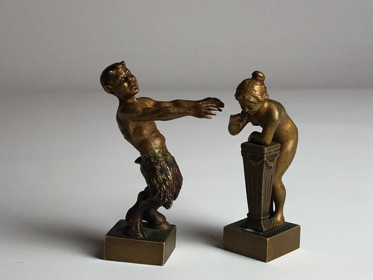 Austrian Erotic Vienna Bronzes Nude and Satyr by Bergman, circa 1900 For Sale