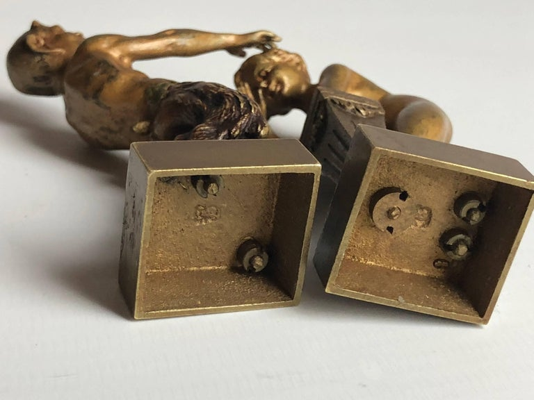 Erotic Vienna Bronzes Nude and Satyr by Bergman, circa 1900 In Good Condition For Sale In London, GB