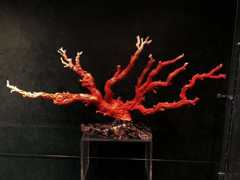 Very Large Antique Qing Dynasty Carved Coral Chinese, circa 1870 2