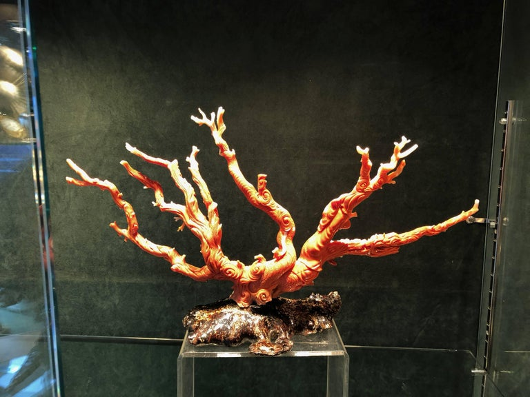 Very Large Antique Qing Dynasty Carved Coral Chinese, circa 1870 6