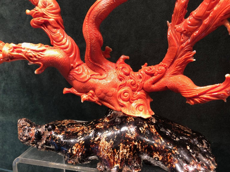 Very Large Antique Qing Dynasty Carved Coral Chinese, circa 1870 3