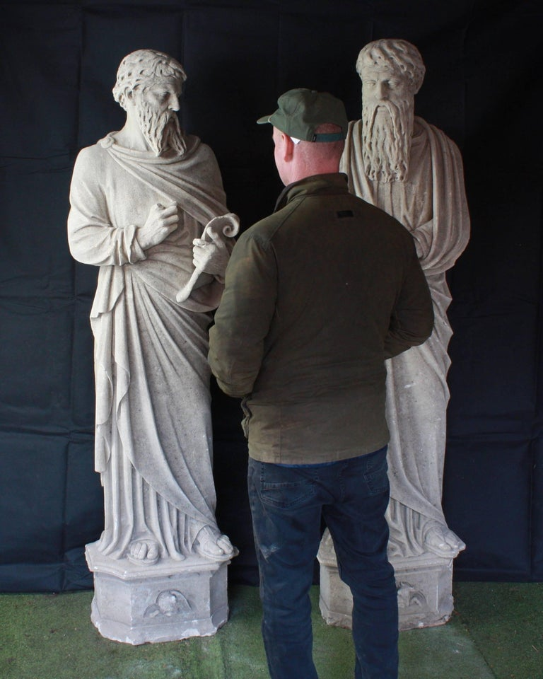 English Monumental Pair of Early 19th Century Stone Statues of Saints For Sale