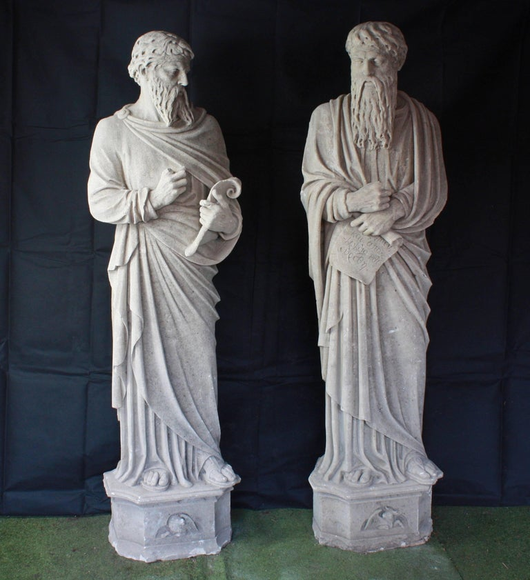 Monumental Pair of Early 19th Century Stone Statues of Saints In Good Condition For Sale In London, GB