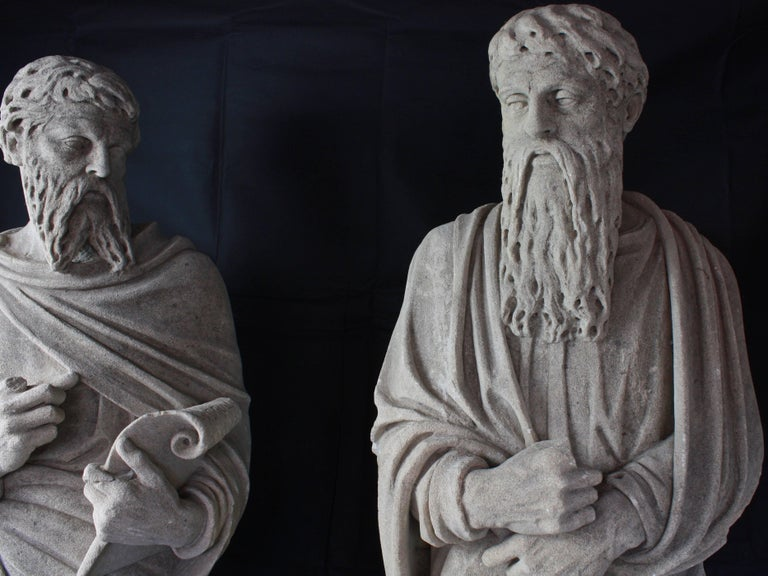 Monumental Pair of Early 19th Century Stone Statues of Saints For Sale 1