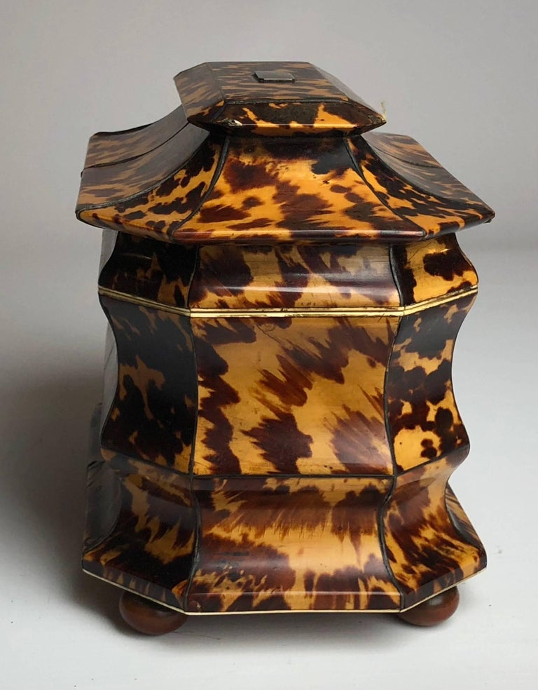 Regency Blonde Tortoiseshell Tea Caddy with Pagoda Top, circa 1820 2