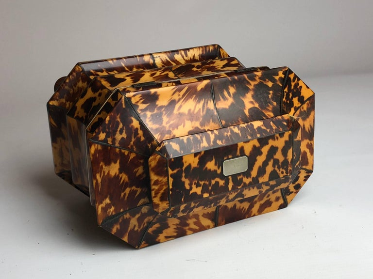 Regency Blonde Tortoiseshell Tea Caddy with Pagoda Top, circa 1820 8