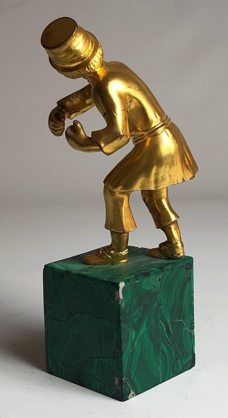 Russian Gilded Bronze of a Cossack on Malachite Base, circa 1900 In Good Condition For Sale In London, GB