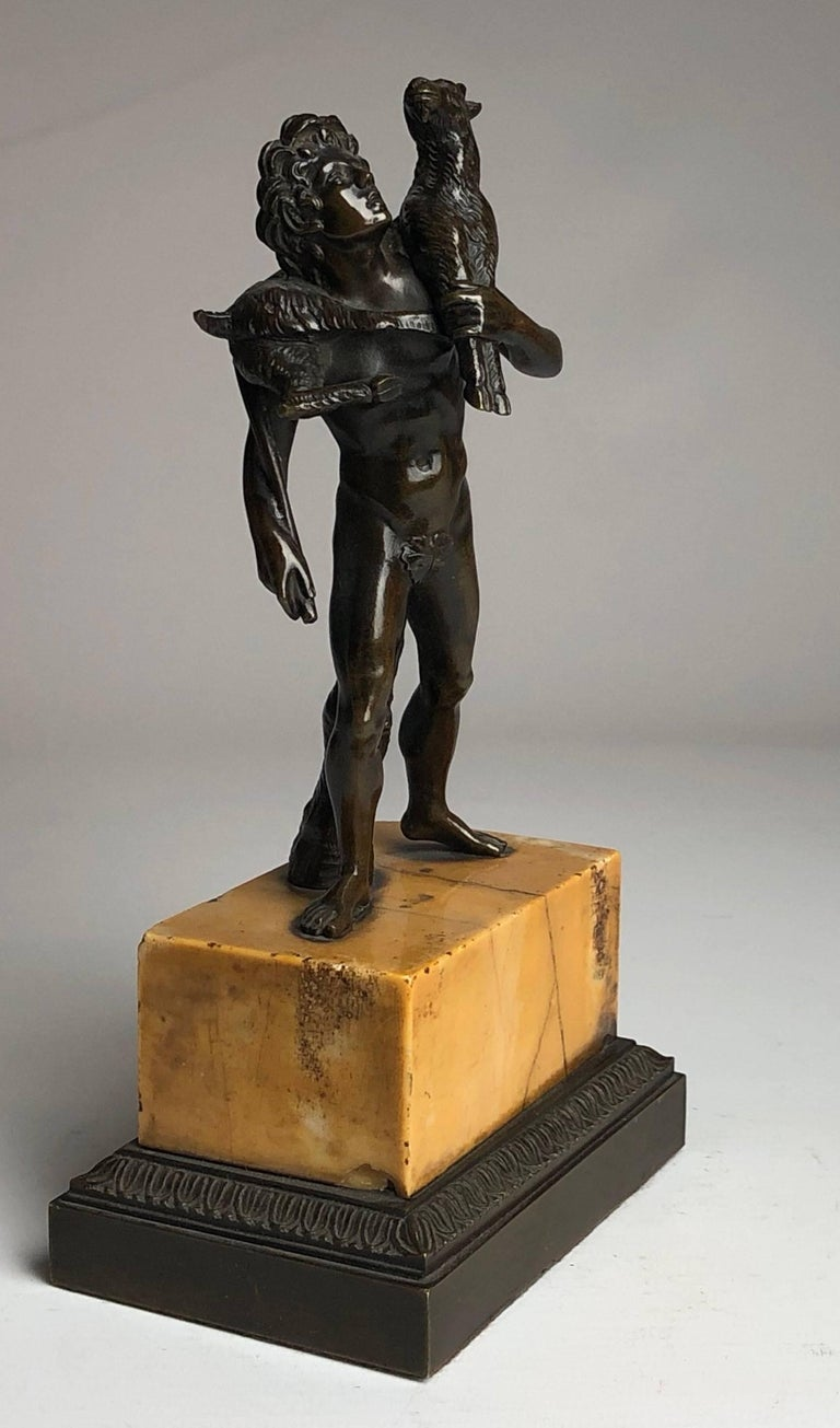 Cast Bronze Grand Tour Figure on Sienna Marble Base, circa 1840 For Sale