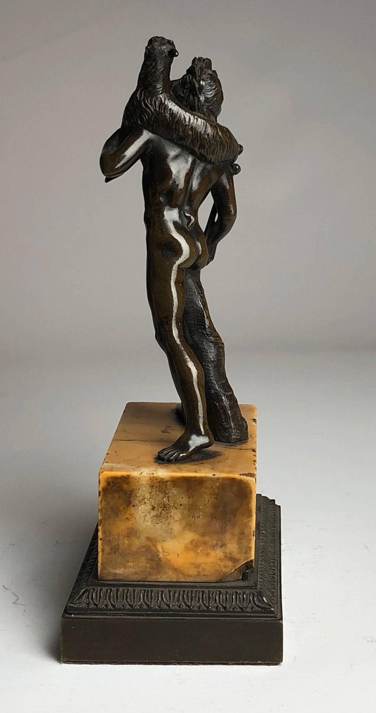 Classical Greek Bronze Grand Tour Figure on Sienna Marble Base, circa 1840 For Sale