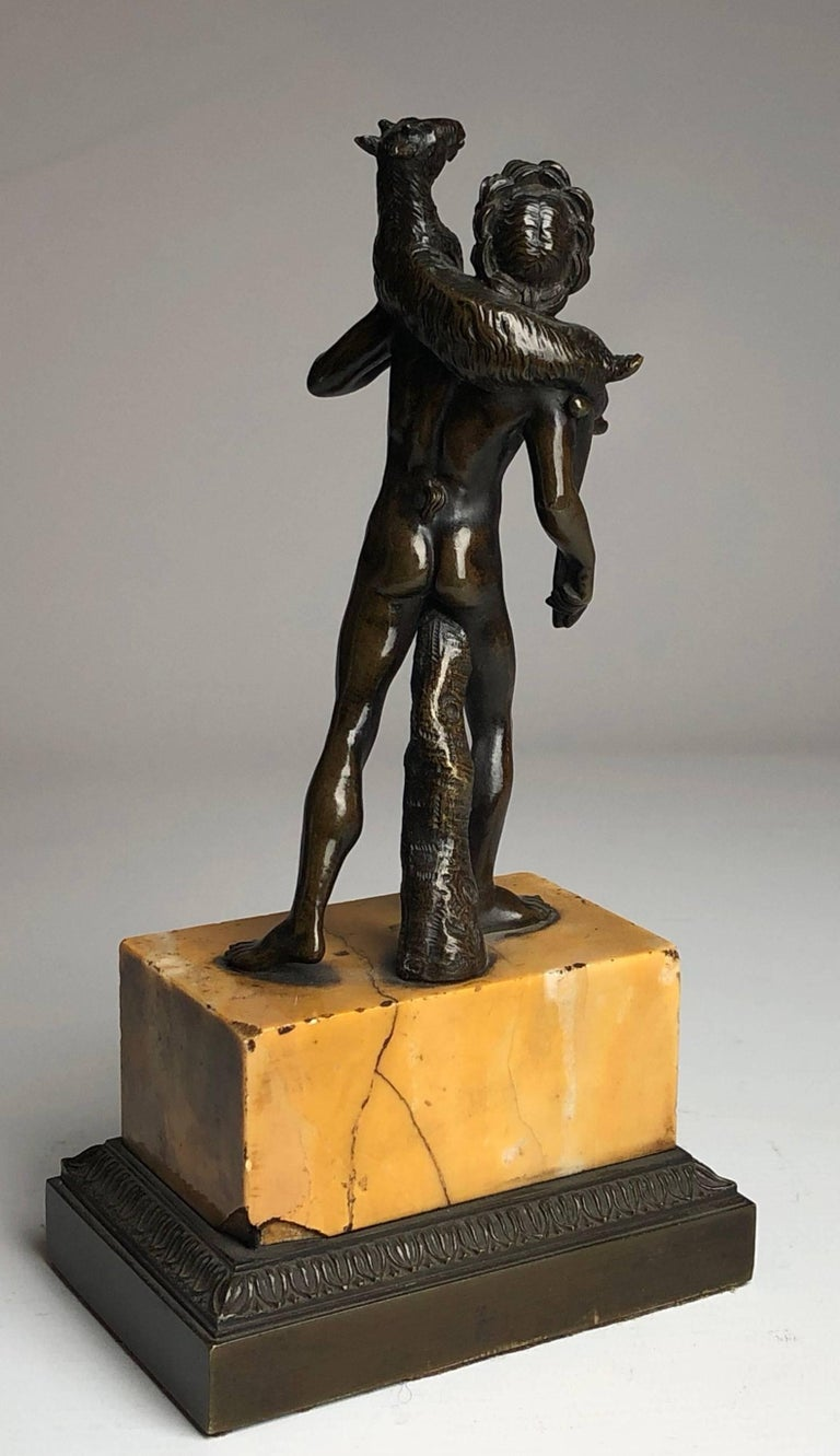 French Bronze Grand Tour Figure on Sienna Marble Base, circa 1840 For Sale