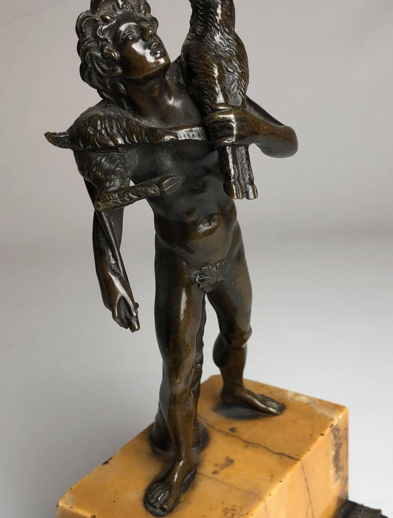 Bronze Grand Tour Figure on Sienna Marble Base, circa 1840 In Excellent Condition For Sale In London, GB