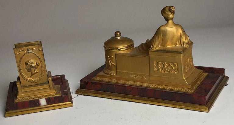 Bronze 19th Century Two-Piece Grand Tour Desk Set, Inkwell and Striker, circa 1880 For Sale